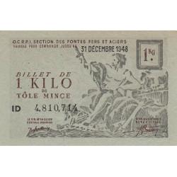 1 kg tôles minces - 31-12-1948 - Endossé - Etat : SUP+