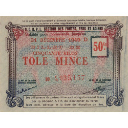 50 kg tôles minces - 31-12-1949 - Endossé - Etat : SUP