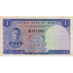 Ceylan - Pick 47 - 1 rupee - 1951 - Etat : TTB