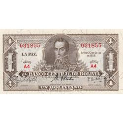 Bolivie - Pick 128a_4 - 1 boliviano - Loi 1928 - Etat : SPL