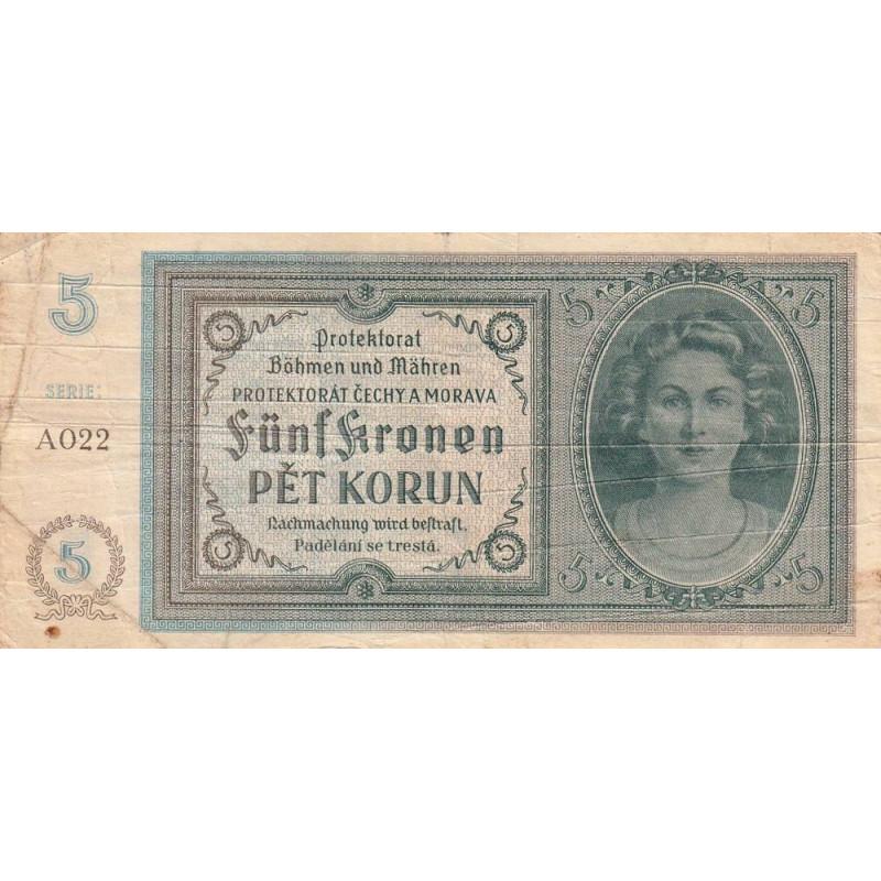 Bohême-Moravie - Pick 4a_1 - 5 korun - 1940 - Etat : TB