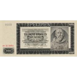 Bohême-Moravie - Pick 15s - 1'000 korun - 1942 - Spécimen - Etat : pr.NEUF