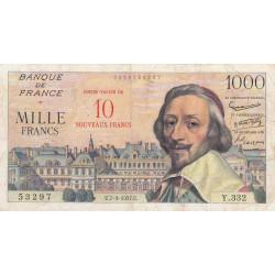 F 53-01 - 07-03/1957 - 10 nouveaux francs sur 1000 francs - Richelieu - Etat : TB