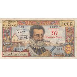 F 54-01 - 1958 - 5000 francs - Henri IV - Surchargé nouv. francs - Etat : B+