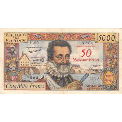 F 54-01 - 1958 - 5000 francs - Henri IV - Surchargé nouv. francs - Etat : TB+