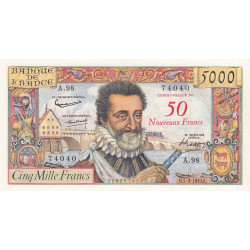 F 54-02 - 1959 - 5000 francs - Henri IV - Surchargé nouv. francs - Etat : TTB+