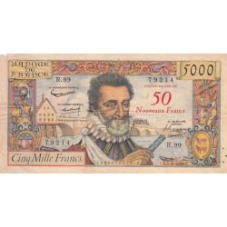 F 54-02 - 1959 - 5000 francs - Henri IV - Surchargé nouv. francs - Etat : B+