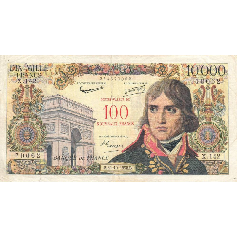 F 55-01 - 30/10/1958 - 100 nouveaux francs dur 10000 francs - Bonaparte - Etat : TB-