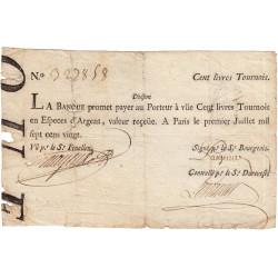 Law-Doreau 27 - 100 livres tournois - 1er janvier 1720 - Etat : TB