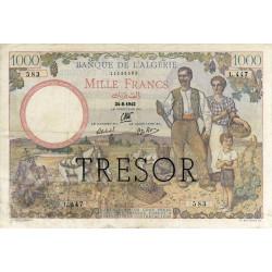 VF 10-1 - 1000 francs - Algérie surchargé - 1942 - Etat : TTB-