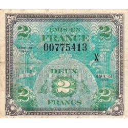 VF 16-3 - 2 francs série X - Drapeau - 1944 - Etat : TB