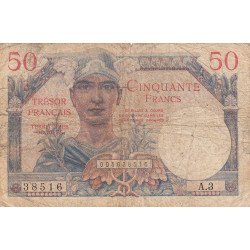 VF 31-1 - 50 francs - Trésor français - 1947 - Etat : B+