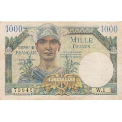 VF 33-1 - 1'000 francs - Trésor français - 1947 - Etat : TB+