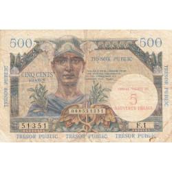 VF 37-1 - 5 nouv. francs / 500 francs - Trésor public - 1960 - Etat : TB-