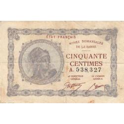 VF 50-1 - 50 centimes - Mines Domaniales de la Sarre - 1920 - Etat : TB