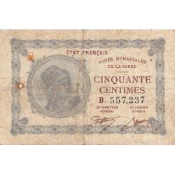 VF 50-2 - 50 centimes - Mines Domaniales de la Sarre - 1920 - Etat : TB-