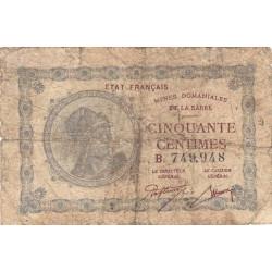 VF 50-2 - 50 centimes - Mines Domaniales de la Sarre - 1920 - Etat : B