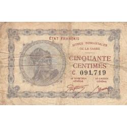 VF 50-3 - 50 centimes - Mines Domaniales de la Sarre - 1920 - Etat : TB-