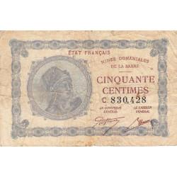 VF 50-3 - 50 centimes - Mines Domaniales de la Sarre - 1920 - Etat : TB