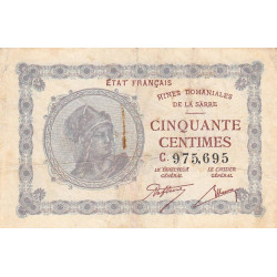 VF 50-3 - 50 centimes - Mines Domaniales de la Sarre - 1920 - Etat : TB+