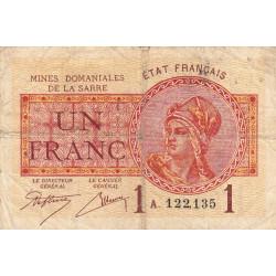 VF 51-1 - 1 franc - Mines Domaniales de la Sarre - 1920 - Etat : TB-
