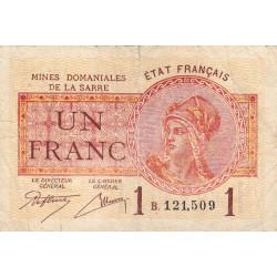 VF 51-2 - 1 franc - Mines Domaniales de la Sarre - 1920 - Etat : TB