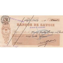 Banque de Savoie - Chèque 1926 - 2b - Etat : TTB+