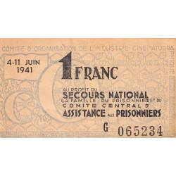 Secours national - 1 franc - 1941 - Industrie Cinématographique - Etat : TTB
