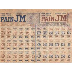 Rationnement - Pain - 1949 - Catégorie JM - Etat : TTB