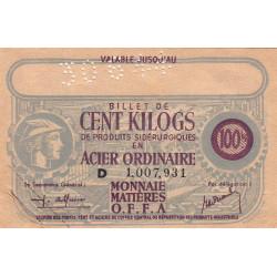 Billet de 100 kg acier ordinaire - 30-06-1944 - Endossé - Etat : SUP à SPL