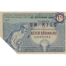 Billet de 1 kg acier ordinaire - 30-09-1945 - Endossé - Etat : SUP