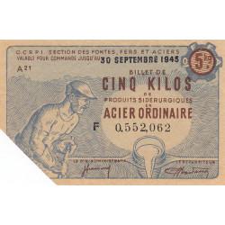Billet de 5 kg acier ordinaire - 30-09-1945 - Non endossé - Etat : SUP