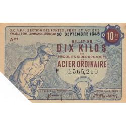 Billet de 10 kg acier ordinaire - 30-09-1945 - Non endossé - Etat : SUP