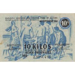 Billet de 10 kg acier ordinaire - 30-09-1947 - Non endossé - Etat : TTB+