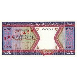 Mauritanie - Pick 4as - 100 ouguiya - 1974 - Spécimen - Etat : NEUF