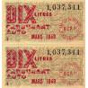 Billet de 10 litres carburant auto - mars 1949