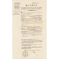Moselle - Metz - Révolution - Mandat de paiement d'arrérage de rentes et pensions liquidés sur des émigrés - Etat : SUP+ à SPL