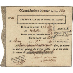 Ain - Bourg - Obligation de 5000 francs - An 1809 - Etat : SUP+