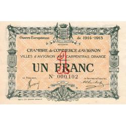 Avignon - Pirot 18-5a - 1 franc - Petit numéro - 1915 - Etat : SPL