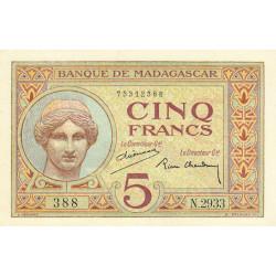 Madagascar - Pick 35b - 5 francs - 1937 - Etat : SPL