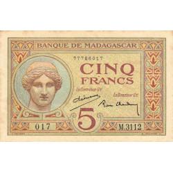 Madagascar - Pick 35b - 5 francs - 1937 - Etat : TTB+