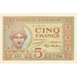 Madagascar - Pick 35b - 5 francs - 1937 - Etat : pr.NEUF