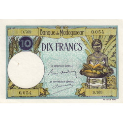 Madagascar - Pick 36b - 10 francs - 1937 - Etat : SUP+