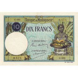 Madagascar - Pick 36b - 10 francs - 1937 - Etat : SUP-