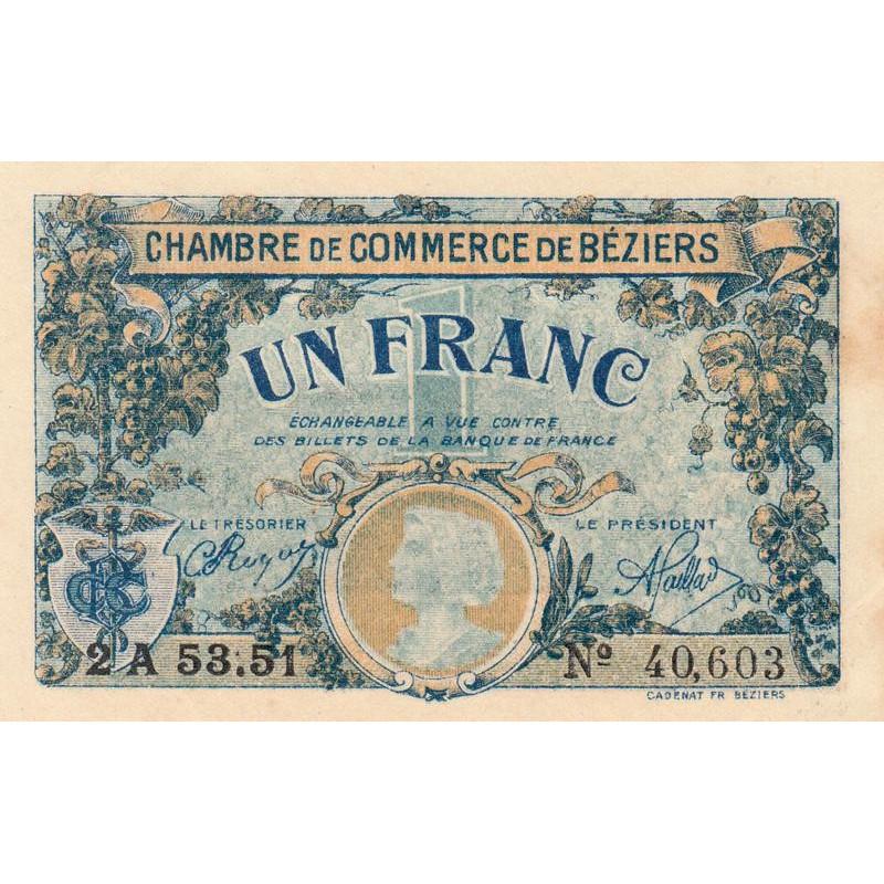 Billet des chambres de commerce b ziers 1 franc for Chambre de commerce cambodge