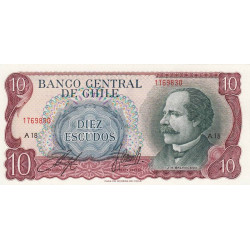 Chili - Pick 142_2 - 10 escudos - 1970 - Etat : NEUF