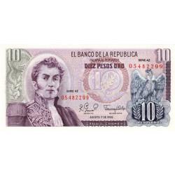 Colombie - Pick 407h - 10 pesos oro - 1980 - Etat : NEUF