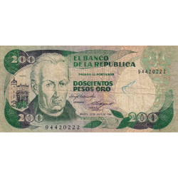 Colombie - Pick 429a_2 - 200 pesos oro - 1984 - Etat : TB-