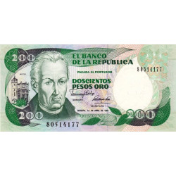 Colombie - Pick 429d_6 - 200 pesos oro - 1991 - Etat : NEUF
