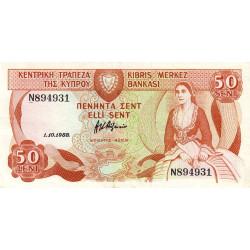 Chypre - Pick 52_2 - 50 cent - 1988 - Etat : SUP